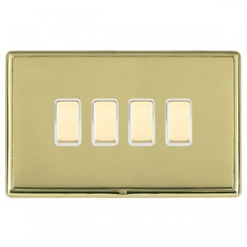 Hamilton Linea-Rondo CFX Polished Brass/Polished Brass 4 Gang Multi way Touch Master Trailing Edge with White Insert