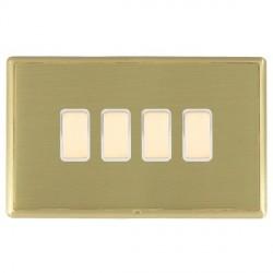 Hamilton Linea-Rondo CFX Satin Brass/Satin Brass 4 Gang Multi way Touch Master Trailing Edge with White I...