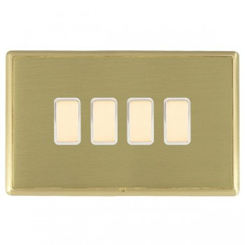 Hamilton Linea-Rondo CFX Satin Brass/Satin Brass 4 Gang Multi way Touch Master Trailing Edge with White Insert