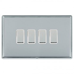Hamilton Linea-Rondo CFX Bright Chrome/Bright Chrome 4 Gang Multi way Touch Slave Trailing Edge with Whit...