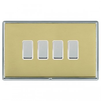 Hamilton Linea-Rondo CFX Bright Chrome/Polished Brass 4 Gang Multi way Touch Slave Trailing Edge with White Insert