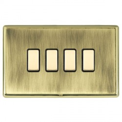 Hamilton Linea-Rondo CFX Polished Brass/Antique Brass 4 Gang Multi way Touch Slave Trailing Edge with Black Insert
