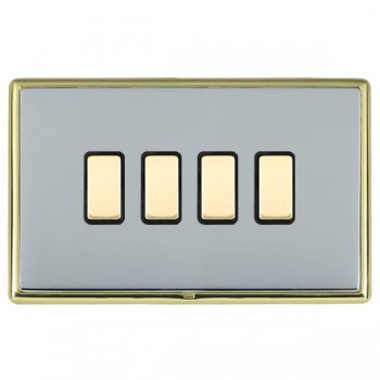 Hamilton Linea-Rondo CFX Polished Brass/Bright Steel 4 Gang Multi way Touch Slave Trailing Edge with Black Insert