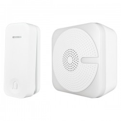 Uni-Com White Portable Door Chime with Kinetic Bell Push