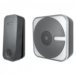 Uni-Com Black Portable Door Chime with Kinetic Bell Push