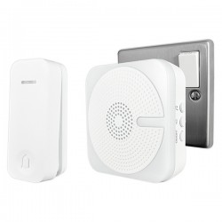 Uni-Com White Plug-In Door Chime with Kinetic Bell Push