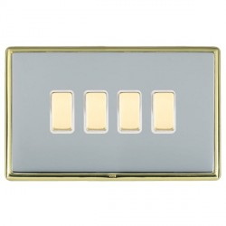 Hamilton Linea-Rondo CFX Polished Brass/Bright Steel 4 Gang Multi way Touch Slave Trailing Edge with Whit...