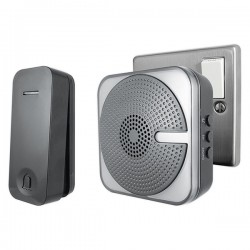 Uni-Com Black Plug-In Door Chime with Kinetic Bell Push