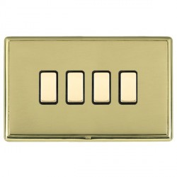Hamilton Linea-Rondo CFX Polished Brass/Polished Brass 4 Gang Multi way Touch Slave Trailing Edge with Bl...
