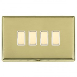 Hamilton Linea-Rondo CFX Polished Brass/Polished Brass 4 Gang Multi way Touch Slave Trailing Edge with Wh...