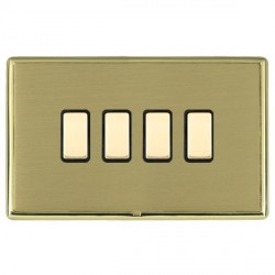 Hamilton Linea-Rondo CFX Polished Brass/Satin Brass 4 Gang Multi way Touch Slave Trailing Edge with Black...