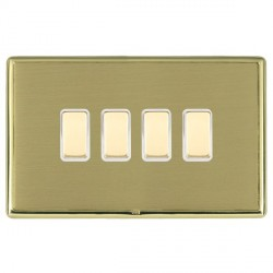 Hamilton Linea-Rondo CFX Polished Brass/Satin Brass 4 Gang Multi way Touch Slave Trailing Edge with White...