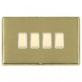 Hamilton Linea-Rondo CFX Polished Brass/Satin Brass 4 Gang Multi way Touch Slave Trailing Edge with White Insert