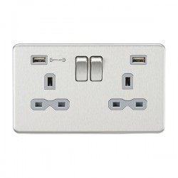 Knightsbridge Screwless Brushed Chrome 2 Gang 13A DP Switched Socket with Type-A FASTCHARGE and Type-C US...