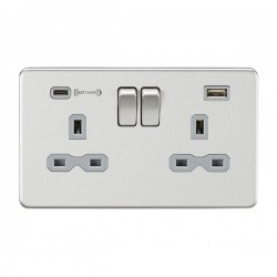 Knightsbridge Screwless Brushed Chrome 2 Gang 13A DP Switched Socket with Type-A and Type-C FASTCHARGE US...