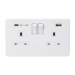 Knightsbridge Screwless Matt White 2 Gang 13A DP Switched Socket with Type-A and Type-C FASTCHARGE USB Ch...