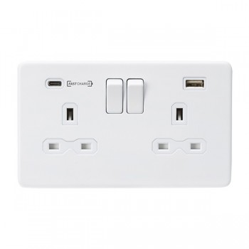 Knightsbridge Screwless Matt White 2 Gang 13A DP Switched Socket with Type-A and Type-C FASTCHARGE USB Chargers - White Insert