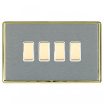 Hamilton Linea-Rondo CFX Polished Brass/Satin Steel 4 Gang Multi way Touch Slave Trailing Edge with White Insert