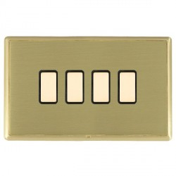 Hamilton Linea-Rondo CFX Satin Brass/Satin Brass 4 Gang Multi way Touch Slave Trailing Edge with Black In...