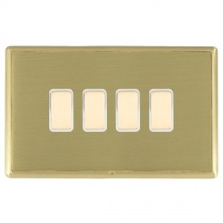 Hamilton Linea-Rondo CFX Satin Brass/Satin Brass 4 Gang Multi way Touch Slave Trailing Edge with White In...