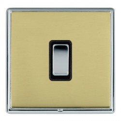 Hamilton Linea-Rondo CFX Bright Chrome/Polished Brass 1 Gang Push To Make Retractive Rocker with Black In...