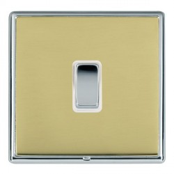 Hamilton Linea-Rondo CFX Bright Chrome/Polished Brass 1 Gang Push To Make Retractive Rocker with White In...