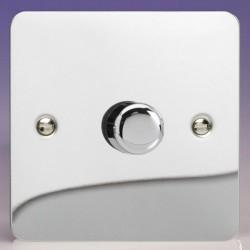 Varilight Ultraflat V-Dim Polished Chrome 1 Gang 2 Way 60-400W Push-On/Off Rotary Dimmer