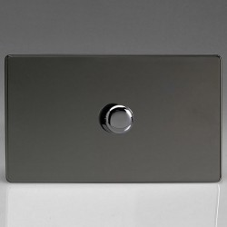 Varilight Screwless V-Plus Iridium Black 1 Gang Twin Plate 2 Way 200-1400W Push-On/Off Rotary Dimmer