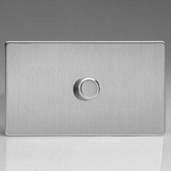 Varilight Screwless V-Plus Brushed Steel 1 Gang Twin Plate 2 Way 200-1400W Push-On/Off Rotary Dimmer