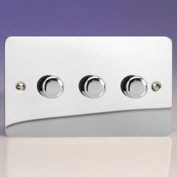 Varilight Ultraflat V-Pro Polished Chrome 3 Gang 2 Way 0-120W Push-On/Off Rotary LED Dimmer