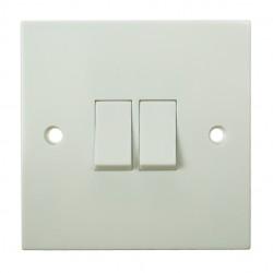 BG White PVC Double 2 Way Switch