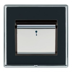 Hamilton Linea-Rondo CFX Bright Chrome/Piano Black 1 Gang On/Off 10A Card Switch with Blue LED Locator with Black Insert