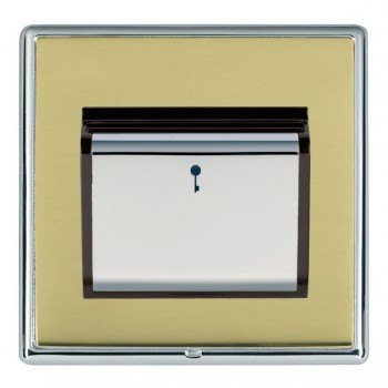 Hamilton Linea-Rondo CFX Bright Chrome/Polished Brass 1 Gang On/Off 10A Card Switch with Blue LED Locator with Black Insert