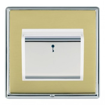 Hamilton Linea-Rondo CFX Bright Chrome/Polished Brass 1 Gang On/Off 10A Card Switch with Blue LED Locator with White Insert