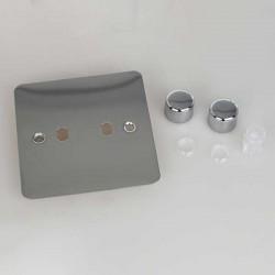 Varilight Ultraflat Polished Chrome 2 Gang Rotary Dimmer Matrix Kit