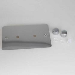Varilight Ultraflat Polished Chrome 2 Gang Twin Plate Rotary Dimmer Matrix Kit