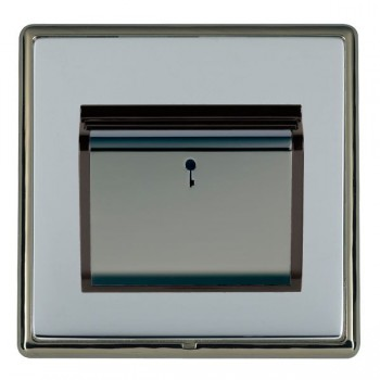 Hamilton Linea-Rondo CFX Black Nickel/Bright Steel 1 Gang On/Off 10A Card Switch with Blue LED Locator with Black Insert