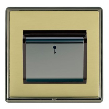 Hamilton Linea-Rondo CFX Black Nickel/Polished Brass 1 Gang On/Off 10A Card Switch with Blue LED Locator with Black Insert