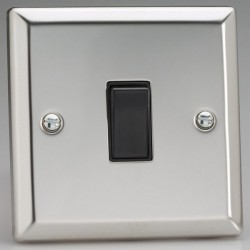 Varilight Classic Mirror Chrome 1 Gang 10A 2 Way Switch with Black Insert