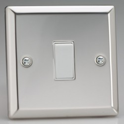 Varilight Classic Mirror Chrome 1 Gang 10A 2 Way Switch with White Insert