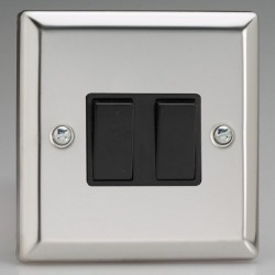 Varilight Classic Mirror Chrome 2 Gang 10A 2 Way Switch with Black Insert