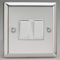 Varilight Classic Mirror Chrome 2 Gang 10A 2 Way Switch with White Insert
