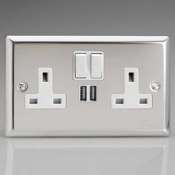Varilight XC5W Classic Mirror Chrome 2 Gang Double 13A Switched Plug Socket