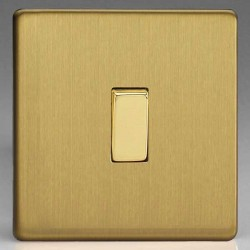Varilight Screwless Brushed Brass 1 Gang 10A 2 Way Switch