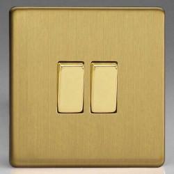 Varilight Screwless Brushed Brass 2 Gang 10A 2 Way Switch
