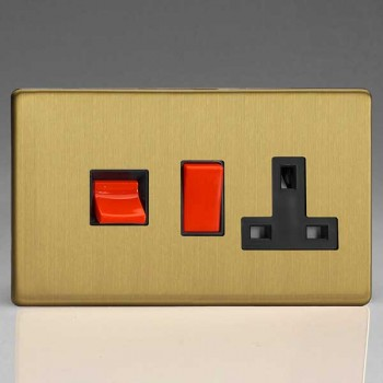 Varilight Screwless Brushed Brass 45A Cooker Switch with 13A DP Switched Socket and Black Insert