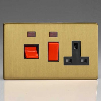 Varilight Screwless Brushed Brass 45A Cooker Switch with 13A DP Switched Socket, Neon, and Black Insert