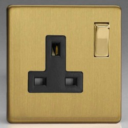 Varilight Screwless Brushed Brass 1 Gang 13A DP Switched Socket with Black Insert