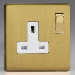 Varilight Screwless Brushed Brass 1 Gang 13A DP Switched Socket with White Insert