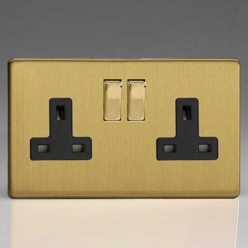 Varilight Screwless Brushed Brass 2 Gang 13A DP Switched Socket with Black Insert